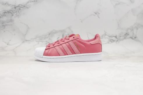 Adidas Superstar Cloud White Pink Rose Gold Metallic Shoes EE7600