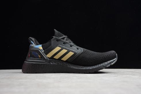 Adidas Ultra Boost 20 Core Black Gold Metallic Signal Coral FV4322