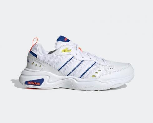 Adidas Essentials Strutter Cloud White Dark Blue Shock Yellow EG8382
