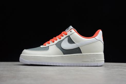 2020 Nike Air Force 1 07 Low Beige Grey Bright Crimson CT3427-990 Best Price