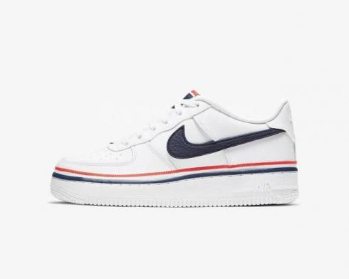 Nike Air Force 1 LV8 Low GS White Concord University Red Shoes CW0984-100