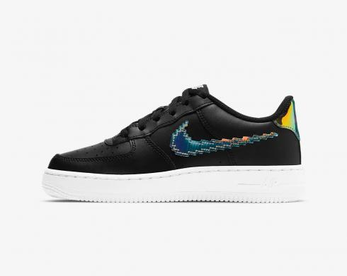 Nike Grade School Air Force 1 Low LV8 Black White Multi-Colour CW1577-002