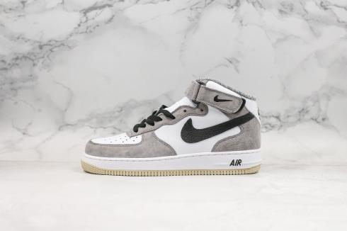 Nike Air Force 1 Mid 07 Light Grey White Black Shoes 808790-107
