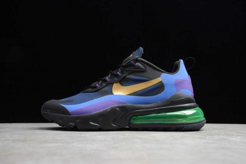 Nike Air Max 270 React Heavy Black Blue Metal Gold AO4971-405