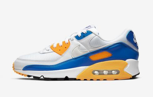 Nike Air Max 90 Knicks White Blue Yellow Running Shoes CT4352-101
