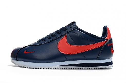 Nike Classic Cortez SE Prm Leather Midnight Navy Red Embroidery 807473-005
