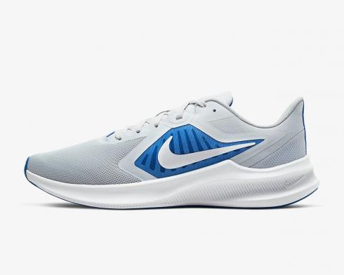 Nike Downshifter 10 Pure Platinum Grey White Blue Game Royal Shoes CI9981-001