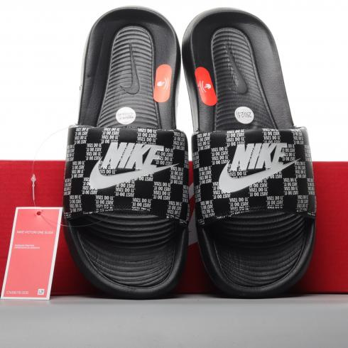 Nike Victori One Printed Slide Just Do It Checker Black White CN9678-004