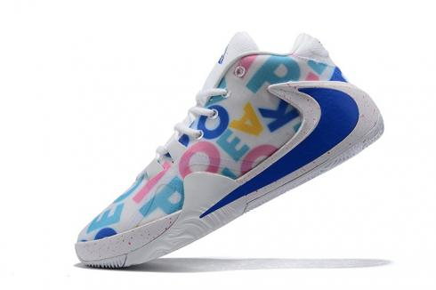 Nike Zoom Freak 1 MVP PE White Blue Multi Color Basketball Shoes BQ5422-995