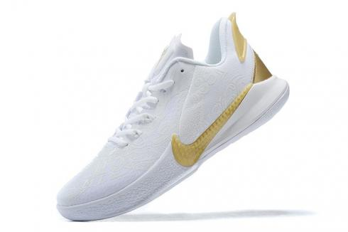 New Release Nike Kobe Mamba Fury White Metallic Gold Kobe Bryant Basketball Shoes CK2087-107